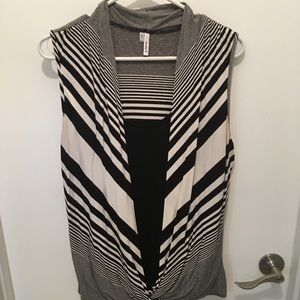 Sleeveless Drape Top with Built-in Tank Top